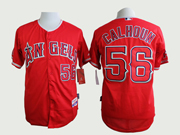 Mens mlb los angeles angels #56 calhoun red throwbacks Jersey