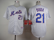 Mens mlb new york mets #21 duda white (2015 new blue stripe) Jersey