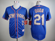 Mens Mlb New York Mets #21 Duda Blue (gray Number) Jersey