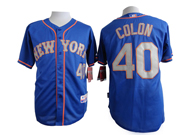 Mens Mlb New York Mets #40 Colon Blue (gray Number) Jersey