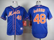 Mens mlb new york mets #48 degrom blue (orange number) Jersey