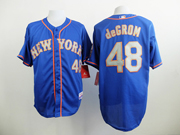 Mens Mlb New York Mets #48 Degrom Blue (gray Number) Jersey