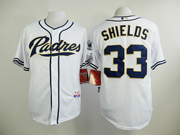 Mens mlb san diego padres #33 shields white Jersey