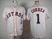 mens mlb Houston Astros #1 Carlos Correa white jersey