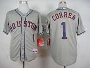 mens mlb Houston Astros #1 Carlos Correa gray jersey