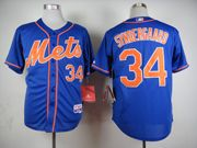Mens mlb new york mets #34 syndergaard blue (orange number) Jersey