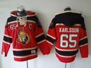 Mens nhl ottawa senators #65 karlsson red hoodie Jersey