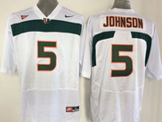 Mens Ncaa Nfl Miami Hurricanes #5 Johnson White Jersey