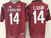 Mens Ncaa Nfl South Carolina Gamecock #14 C.shaw Red (sec) Jersey