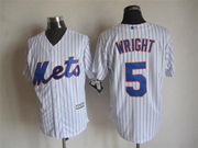 Mens mlb new york mets #5 wright white (2015 new blue stripe) Jersey