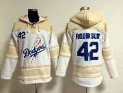 Mens Mlb Los Angeles Dodgers #42 Robinson White Hoodie Jersey