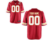 Mens Women Youth Kids Nfl Kansas City Chiefs Custom Made Red Game Jersey