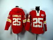 Mens Nfl Kansas City Chiefs #25 Charles Red (2015 Team) Hoodie Jersey