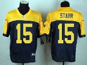 Mens Nfl Green Bay Packers #15 Starr Blue&yellow Elite Jersey