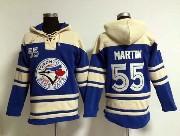 Mens Mlb Toronto Blue Jays #55 Martin Blue Hoodie Jersey