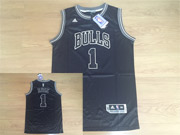 Mens Nba Chicago Bulls #1 Rose Black&white Fashion Swingman Jersey