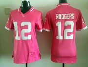 women nfl Green Bay Packers #12 Aaron Rodgers pink bubble gum jersey