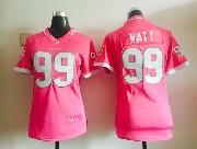 women  nfl Houston Texans #99 JJ Watt pink bubble gum jersey