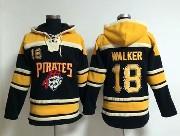 Mens Mlb Pittsburgh Pirates #18 Walker Black Hoodie Jersey