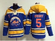 Mens Mlb New York Mets #5 Wright Blue Hoodie Jersey