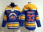 Mens Mlb New York Mets #33 Harvey Blue Hoodie Jersey