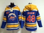 Mens Mlb New York Mets #48 Degrom Blue Hoodie Jersey