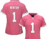 Women  Nfl Carolina Panthers #1 Cam Newton Pink Bubble Gum Jersey