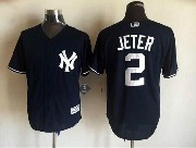Mens Mlb New York Yankees #2 Derek Jeter Drak Blue Jersey