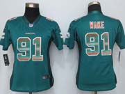 Women  New   Miami Dolphins #91 Wake Green Strobe Elite Jersey