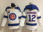 Mens Mlb Chicago Cubs #12 Schwarber White (team Hoodie) Jersey