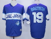 Mens Mlb Toronto Blue Jays #19 Jose Bautista Dark Blue 2015 Cool Base Vintage Jersey