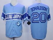 Mens Mlb Toronto Blue Jays #20 Donaldson Light Blue 2015 Cool Base Vintage Jersey