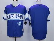 Mens Mlb Toronto Blue Jays (blank) Dark Blue 2015 Cool Base Vintage Jersey