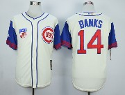 Mens Mlb Chicago Cubs #14 Banks Cream White 1942 New Throwbacks Jersey