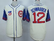 Mens Mlb Chicago Cubs #12 Schwarber Cream White 1942 New Throwbacks Jersey