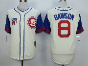 Mens Mlb Chicago Cubs #8 Dawson Cream White 1942 New Throwbacks Jersey