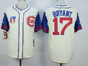 Mens Mlb Chicago Cubs #17 Bryant Cream White 1942 New Throwbacks Jersey