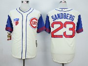 Mens Mlb Chicago Cubs #23 Sandberg Cream White 1942 New Throwbacks Jersey