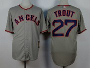 Mens Mlb Los Angeles Angels #27 Mike Trout Gray 1980 Throwbacks Jersey