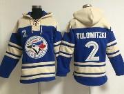 Mens Mlb Toronto Blue Jays #2 Tulowitzki Blue Hoodie Jersey