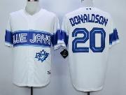Mens Mlb Toronto Blue Jays #20 Donaldson White 2015 Cool Base Vintage Jersey