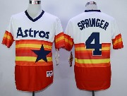 Mens Mlb Houston Astros #4 George Springer White&orange Pullover Jersey
