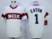 Mens Mlb Chicago White Sox #1 Eaton White 1983 Throwbacks Pullover Jersey