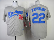 Mens mlb los angeles dodgers #22 kershaw gray (2014 new) Jersey