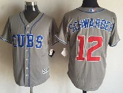 Mens Mlb Chicago Cubs #12 Schwarber Gray Majestic Jersey