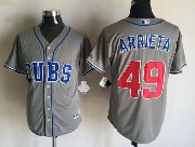 Mens Mlb Chicago Cubs #49 Jake Arrieta Gray Majestic Jersey