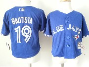 kids mlb Toronto Blue Jays #19 Jose Bautista blue jersey