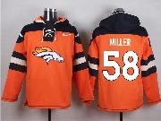 mens nfl Denver Broncos #58 Von Miller orange (new single color) hoodie jersey