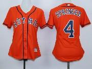 Women Mlb Houston Astros #4 George Springer Orange Jersey