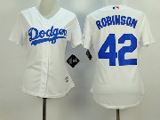 Women  Mlb Los Angeles Dodgers #42 Robinson White Jersey